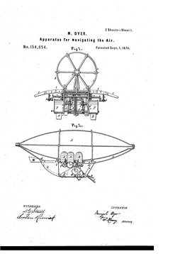 Dyer Airship 1874 Patent Drawing Page 1
