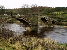 Fast flow River Wharfe under Barden Bridge - geograph.org.uk - 625116.jpg