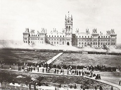 Troops deliver a feu de joie on Parliament Hill for the Queen's Birthday Review in 1868