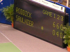 The scoreboard of a match between Andy Roddick and Cyril Saulnier.