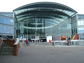 The Forum, on Millennium Plain in Norwich, where BBC Radio Norfolk has been based since June 2003. The BBC occupy the wing of the building seen on the left-hand side of the picture.