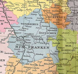 Western and Eastern Franconia, about 1000