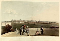 Emeric Essex Vidal, General view of Buenos Ayres from the Plaza de Toros, 1820. In this area now lies the Plaza San Martín.