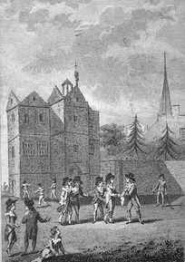 The original Old Schools at background, as they were in 1615