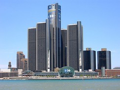 The Renaissance Center, home of the world headquarters of General Motors and the second tallest hotel in the Western Hemisphere, sits along the International Riverfront