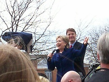 Hillary Clinton and Evan Bayh campaigning in Terre Haute, Indiana.