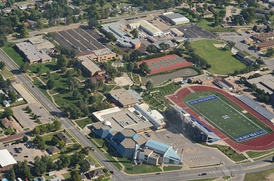 Aerial view of Kansas Cosmosphere and Hutchinson Community College (2014)