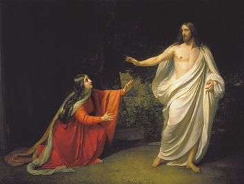 "Appearance of Jesus Christ to Maria Magdalena (1835) by Alexander Andreyevich Ivanov. In John 20:1–13, Mary Magdalene sees the risen Jesus alone[86][82] and he tells her ""Don't touch me, for I have not yet ascended to my father.""[82]"