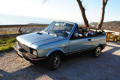 Italian version of Yugo Cabrio 1.3 branded as Innocenti, photographed near Trieste