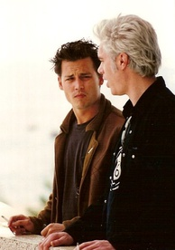 Depp with director-screenwriter Jim Jarmusch at the Cannes Film Festival in 1995