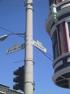 Junction of Haight and Ashbury Streets, San Francisco, celebrated as the central location of the Summer of Love