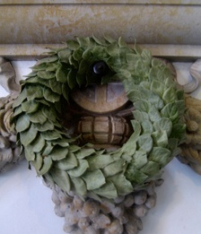 A laurel wreath decorating a memorial at the Folketing, the national parliament of Denmark.