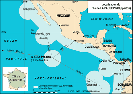 The extent of Costa Rica's western EEZ in the Pacific