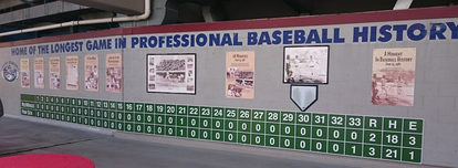 Line score of the longest professional baseball game, which lasted 24 extra innings; 33 innings total.