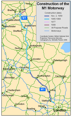 Map showing construction dates of sections of the M1