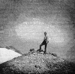 A hiker at the summit of Mount St. Helens, as depicted in Frances Fuller Victor's 1891 Atlantis Arisen.[43]