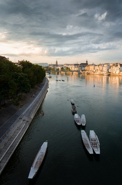 The Rhine river with the old town of Basel to the right