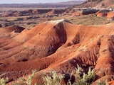 A landscape of the red rocks and lavender shades of the mountains in the Painted Desert.