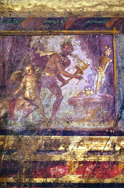 A man prepares the nocturnal sacrifice of a pig to Priapus, with Cupid as the swineherd[42] (wall painting, Villa of the Mysteries)