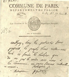 Proclamation by the Commune, found in the pocket of Couthon. Couthon was invited by Robespierre, etc. for which they used official police writing paper.