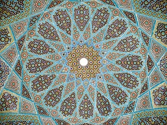 Geometric tiling on the underside of the dome of Hafiz Shirazi's tomb in Shiraz