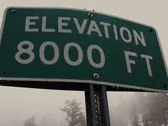 Sign at 8,000 feet (2,438 m) in the San Bernardino Mountains of southern California (2009)