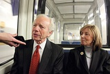 Then-Senator Joe Lieberman rides the subway to the Capitol with his wife Hadassah in 2011