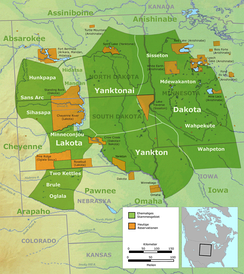 Location of Sioux tribes prior to 1770 (dark green) and their current reservations (orange) in the US