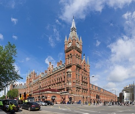 St. Pancras railway station and Midland Hotel in London, opened in 1868