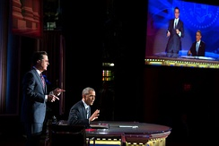 President Barack Obama guest-hosting the show in 2014.