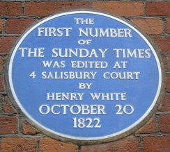 Plaque to the first edition of The Sunday Times at No. 4 Salisbury Court, London