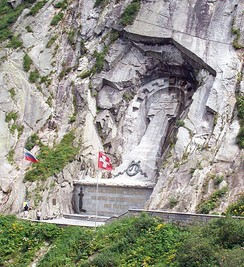 Suvorov monument in the Swiss Alps