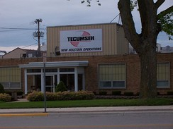 Former New Holstein, Wisconsin engine manufacturing plant in 2006, with Tecumseh logo