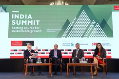 A panel of journalists and public policy leaders at The Economist's 2019 India Summit.