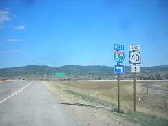 The western terminus of U.S. Route 40 at Interstate 80 in Silver Creek Junction
