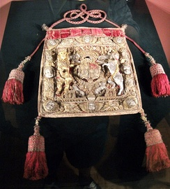 Ceremonial purse at Weston Park, used by Sir Orlando as Lord Keeper and shown in his portrait above