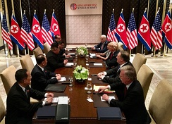Pompeo at the expanded bilateral meeting between the United States and North Korean delegations