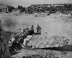 Wreckage of Italian hangers and airplanes ouside Tripoli.jpg