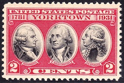 US Postage Stamp, 1931 issue, depicting Rochambeau, George Washington and De Grasse, commemorating 150th anniversary of the victory at Yorktown, 1781