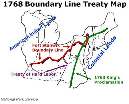 """1768 Boundary Line Treaty Map"" for Iroquois Six Nations and tributary tribes north of Fort Stanwix and the Ohio River; and for Cherokee and Creeks south of the Ohio River and west of modern Roanoke, Virginia, the purple line 1768 ""Treaty of Hard Labor"", is west of the Eastern Continental Divide, the green line for the previous 1763 ""King's Proclamation""."