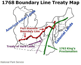 Boundary line map 1768  agreed to by Indians at the Treaty of Fort Stanwix; the new red line replaced the green line of 1763