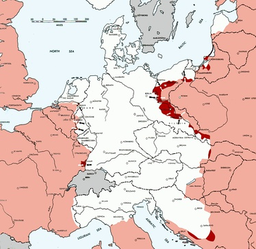 Allied-occupied territories (red) on 15 February 1945, four days after the end of the conference