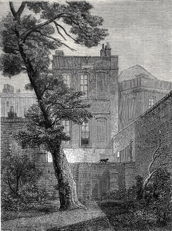 "The back of No. 19, York Street (1848). In 1651 John Milton moved into a ""pretty garden-house"" in Petty France. He lived there until the Restoration. Later it became No. 19 York Street, belonged to Jeremy Bentham, was occupied successively by James Mill and William Hazlitt, and finally demolished in 1877.[73]"