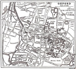 "Map of Oxford c. 1900, with the river labelled as ""River Thames or Isis""."