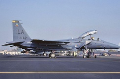 461st Tactical Fighter Training Squadron McDonnell Douglas F-15E-43-MC Strike Eagle 87–172 1990. Aircraft Crashed 42 nautical miles south-south-west of Gila Bend, AZ 16 Sep 1991. Pilot survived.