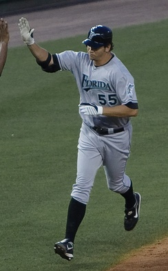 Johnson running bases after hitting a home run for the Florida Marlins in 2009