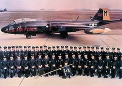 Members of the 822d Bombardment Squadron posing in front of their new Martin B-57B 52-1577 at Laon-Couvron AB, France in 1955.