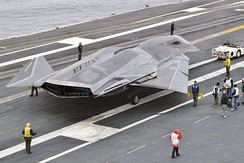 A mock-up of the fictional F/A-37 Talon aboard Abraham Lincoln during production of the film Stealth in 2004