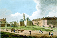View of the closed Jesuit College in 1761. The College was forced to close in 1759 with the beginning of British-rule.