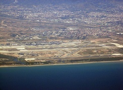 The Barcelona–El Prat Airport as seen from the air